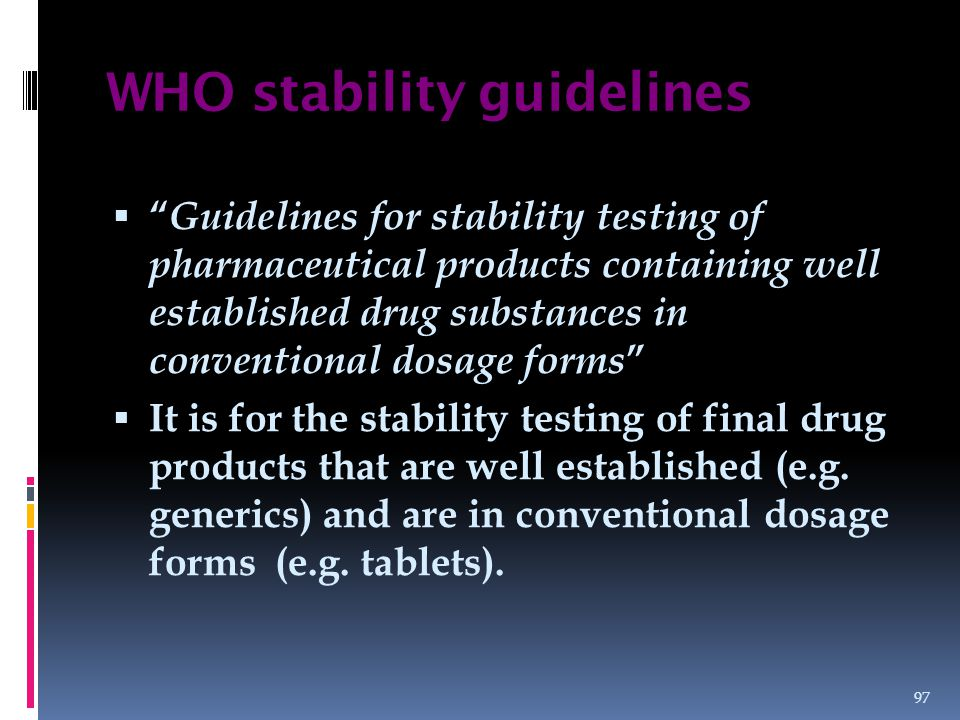 WHO stability guidelines
