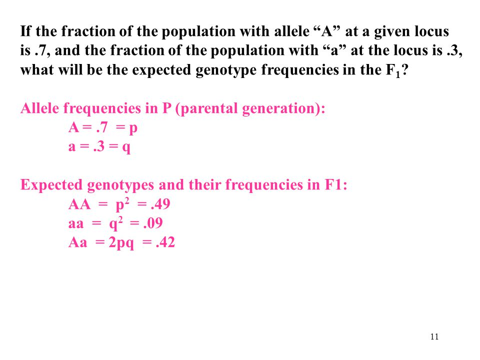 If the fraction of the population with allele A at a given locus