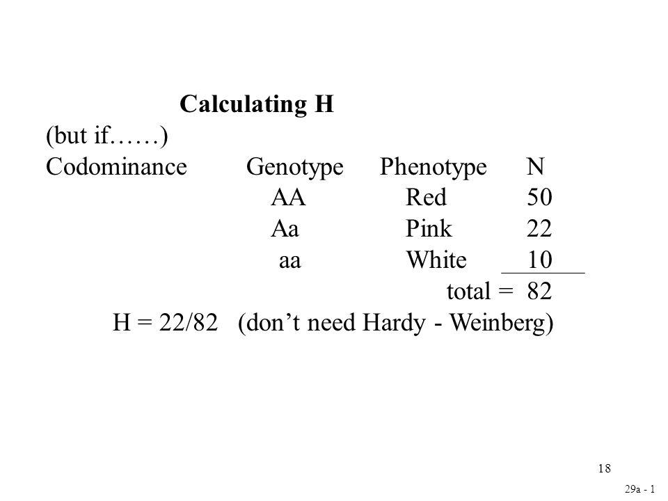 Codominance Genotype Phenotype N AA Red 50 Aa Pink 22 aa White 10