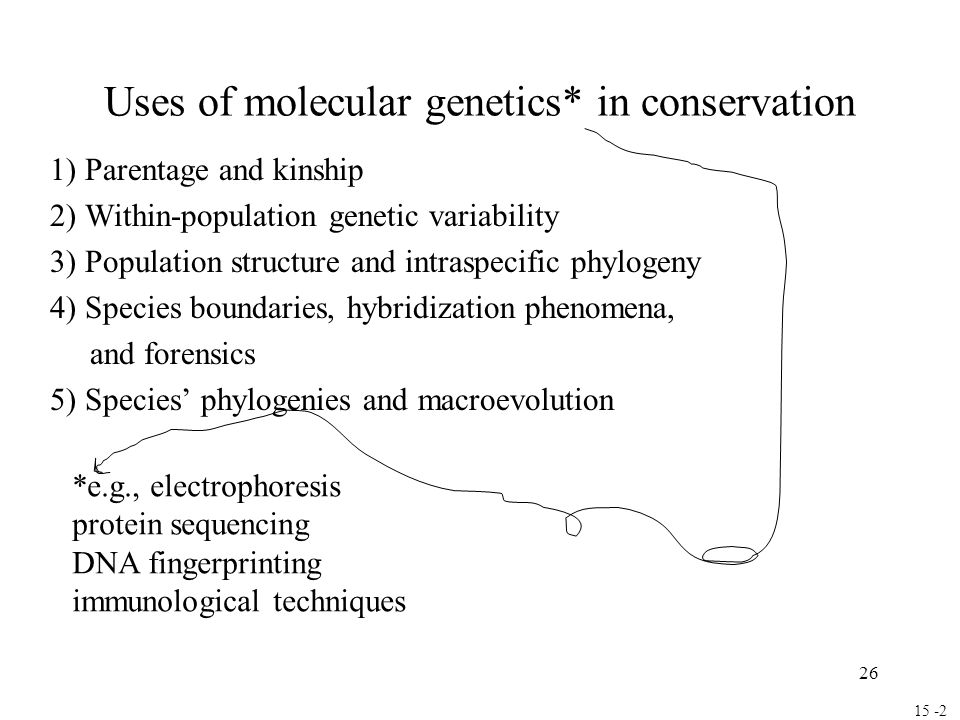 Uses of molecular genetics* in conservation
