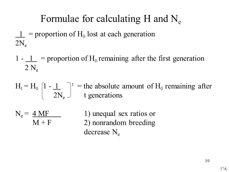 Formulae for calculating H and Ne
