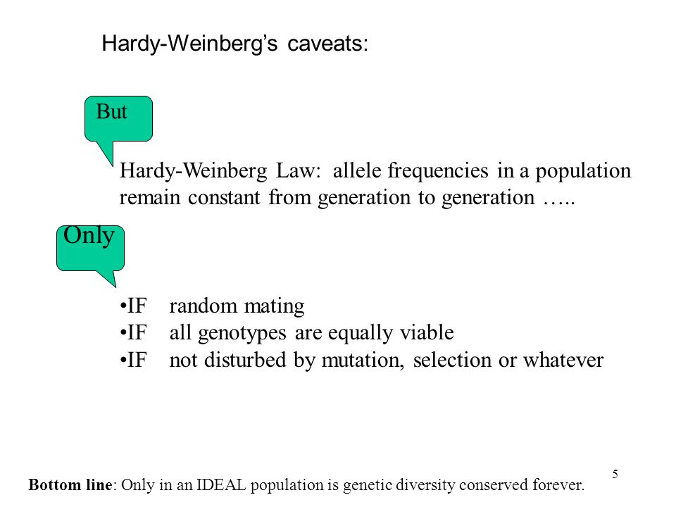 Only Hardy-Weinberg's caveats: But