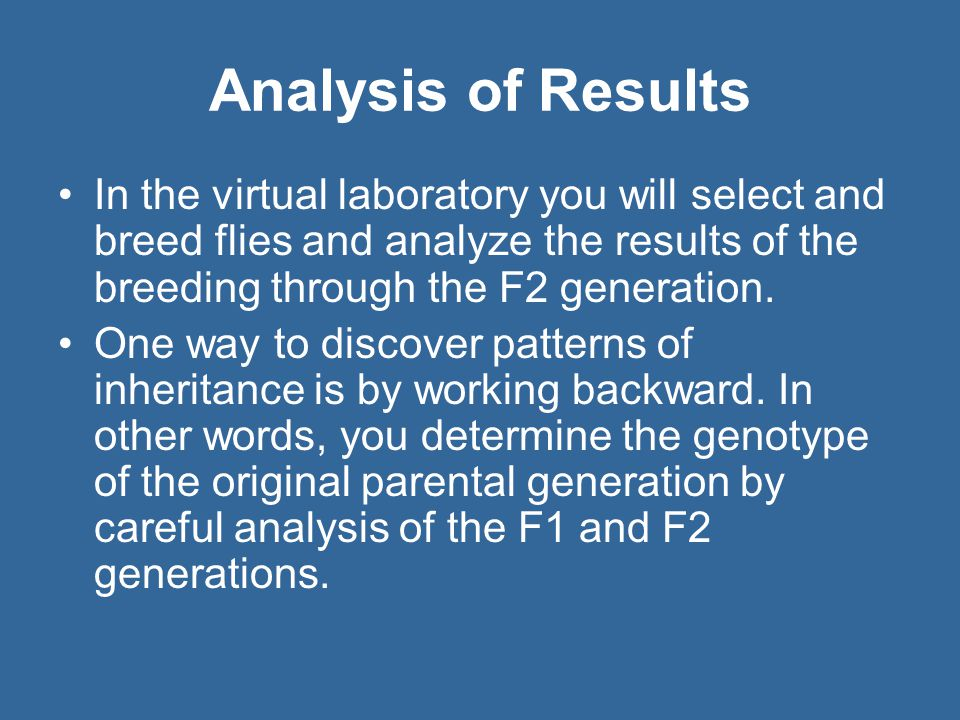 Analysis of Results In the virtual laboratory you will select and breed flies and analyze the results of the breeding through the F2 generation.