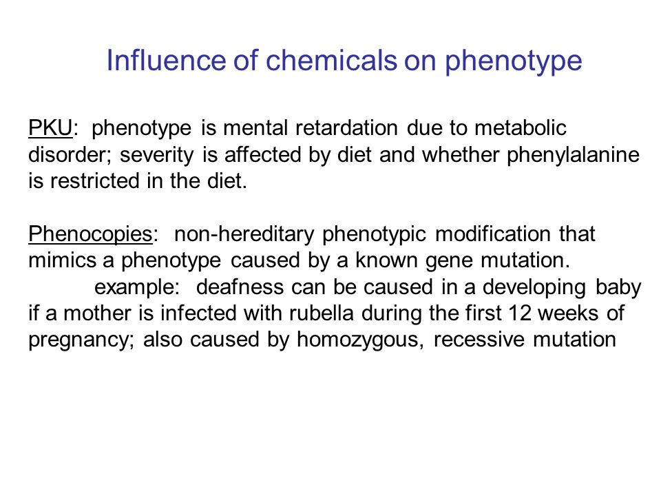 Influence of chemicals on phenotype