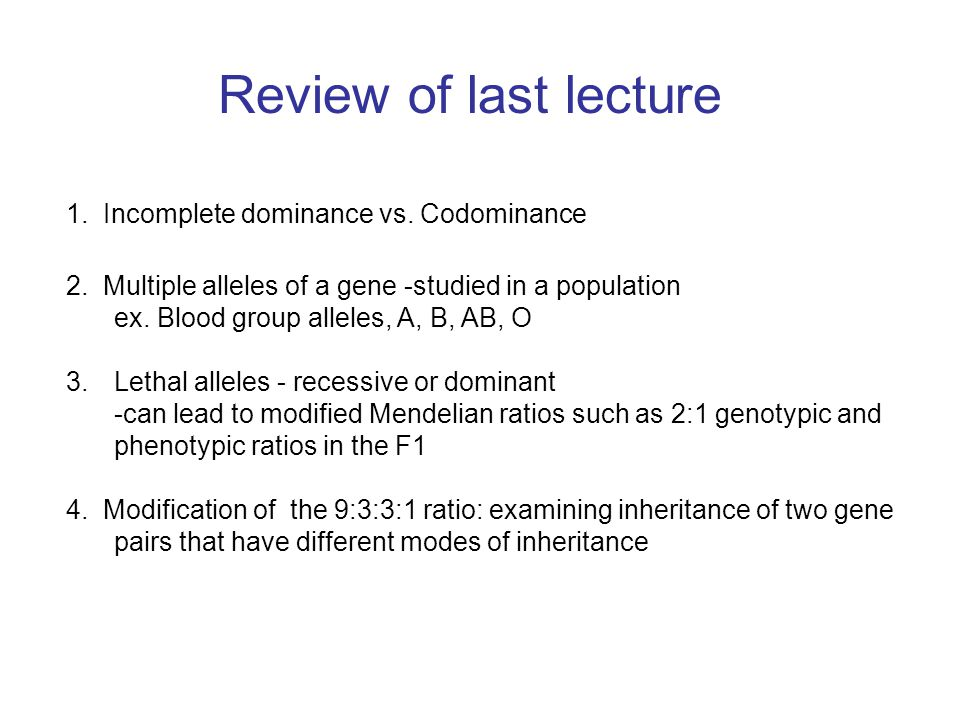 Review of last lecture 1. Incomplete dominance vs. Codominance