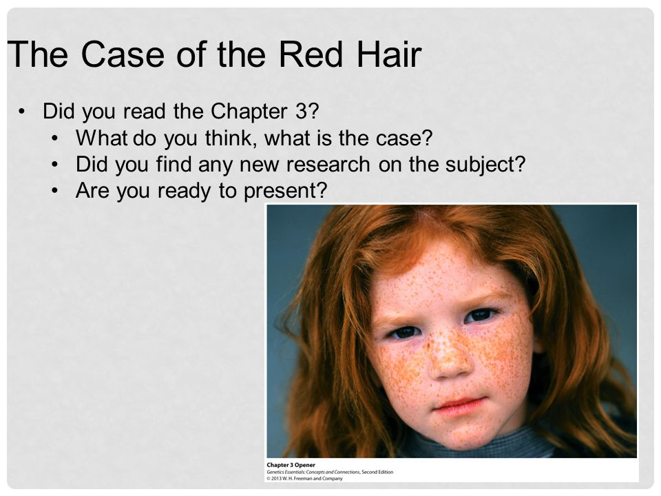 The Case of the Red Hair Did you read the Chapter 3