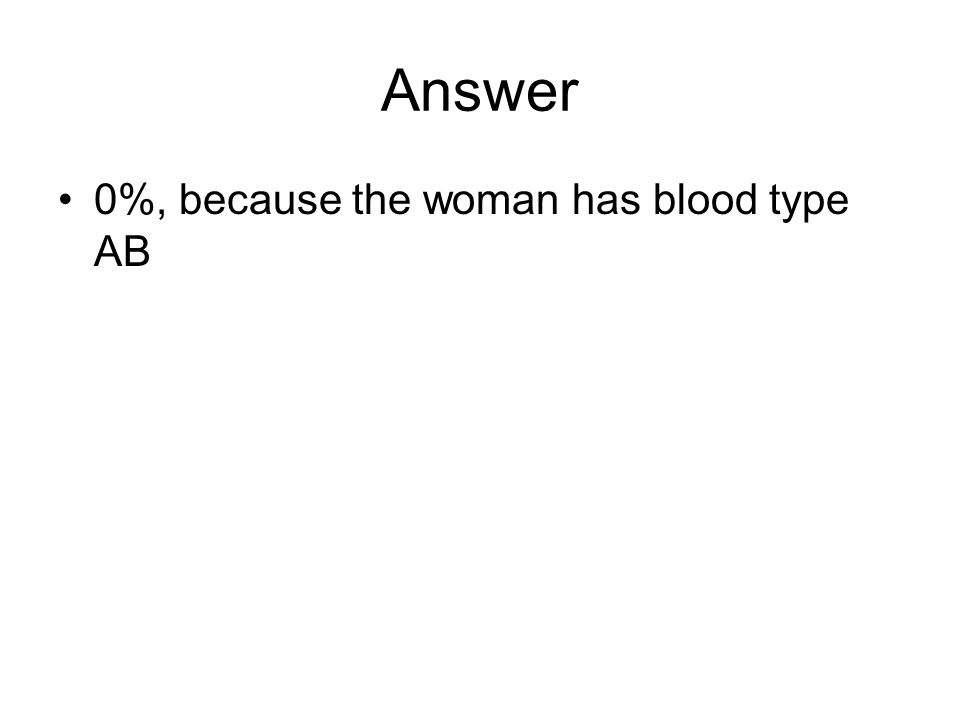 Answer 0%, because the woman has blood type AB