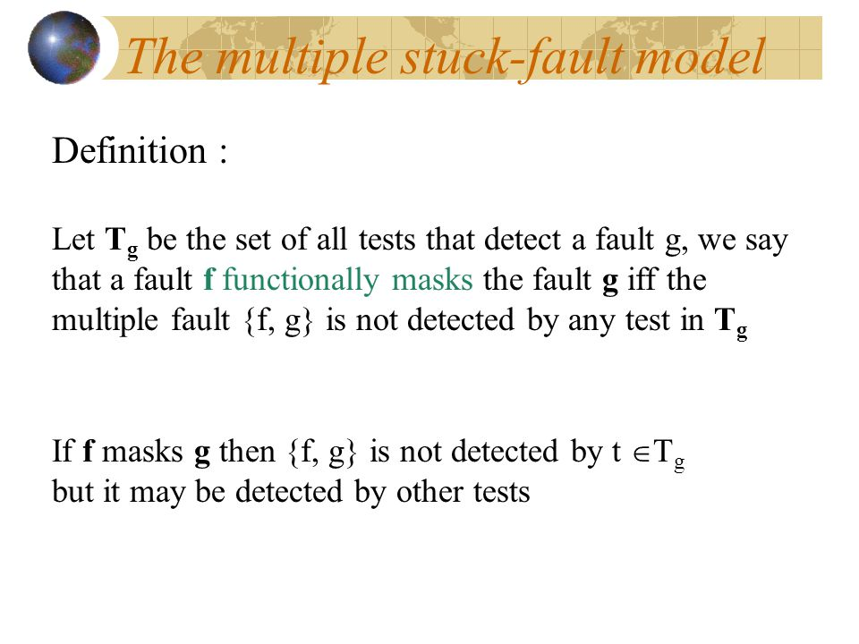 The multiple stuck-fault model