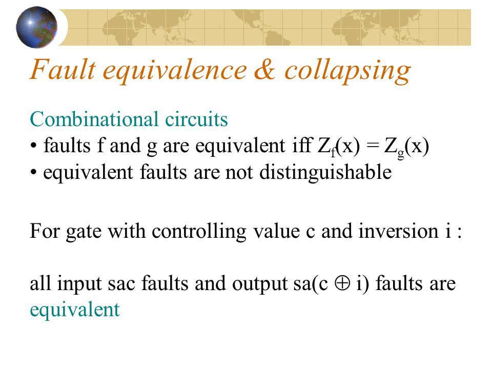 Fault equivalence & collapsing