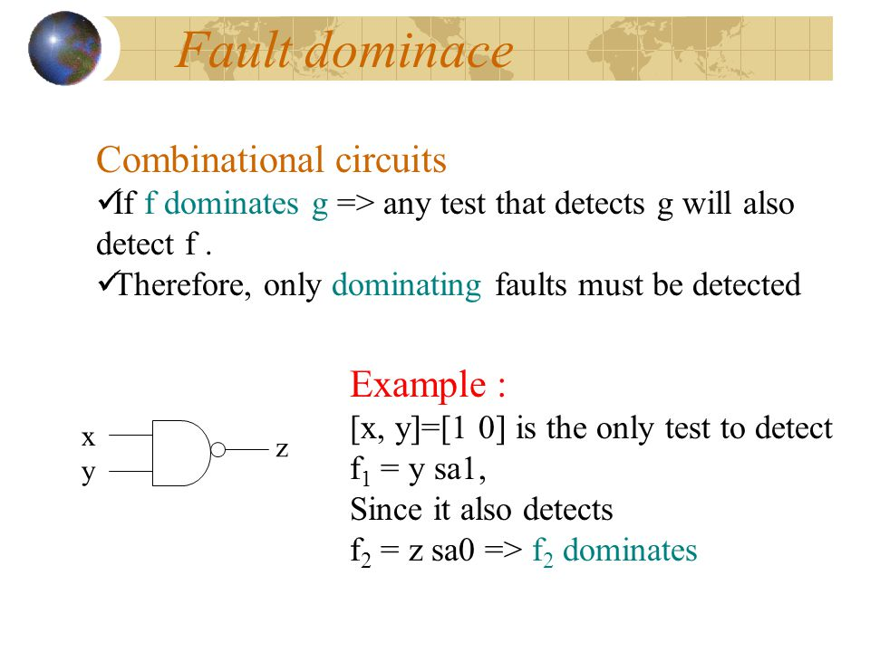 Fault dominace Combinational circuits Example :