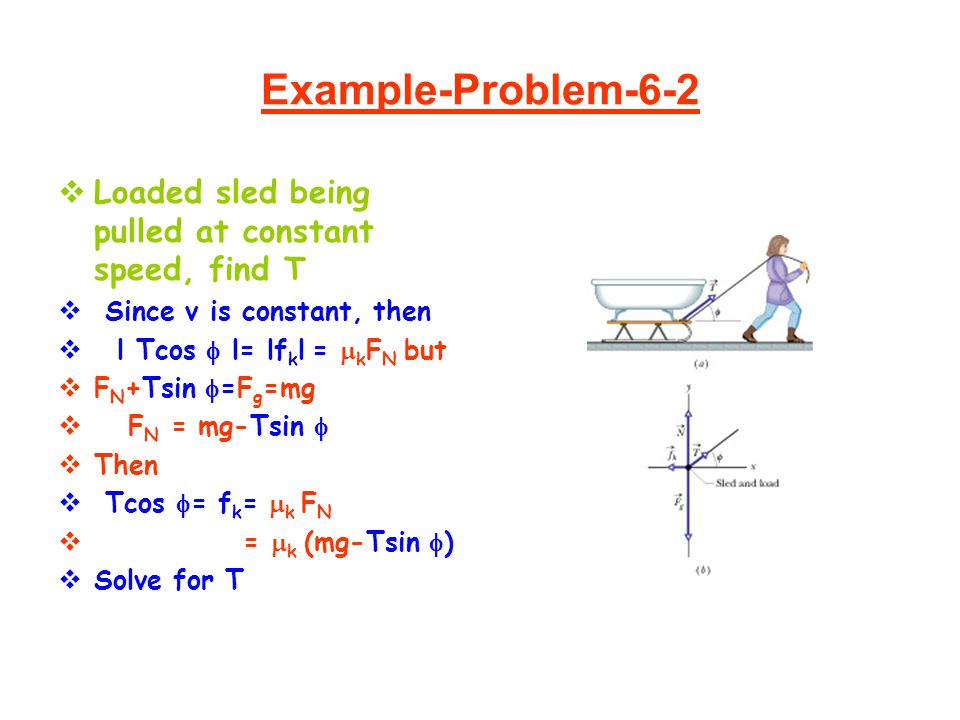 Example-Problem-6-2 Loaded sled being pulled at constant speed, find T