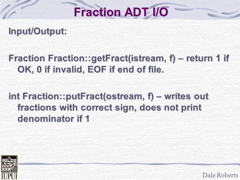Fraction ADT I/O Input/Output: