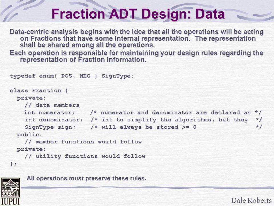 Fraction ADT Design: Data
