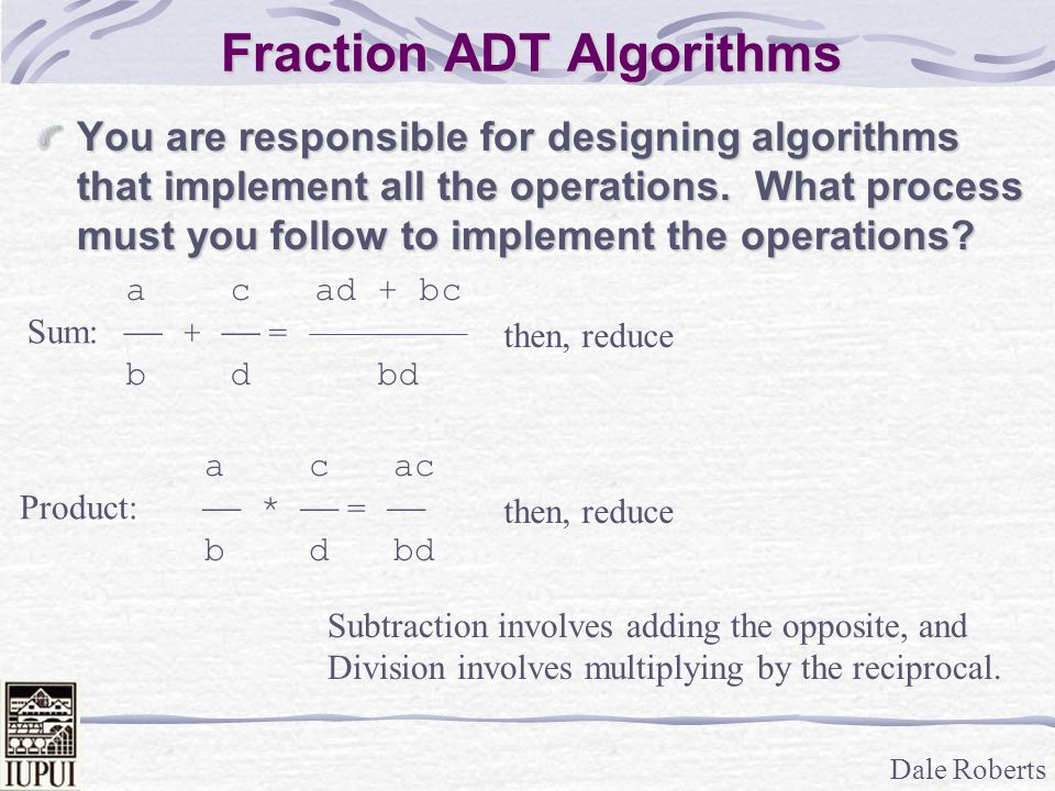 Fraction ADT Algorithms