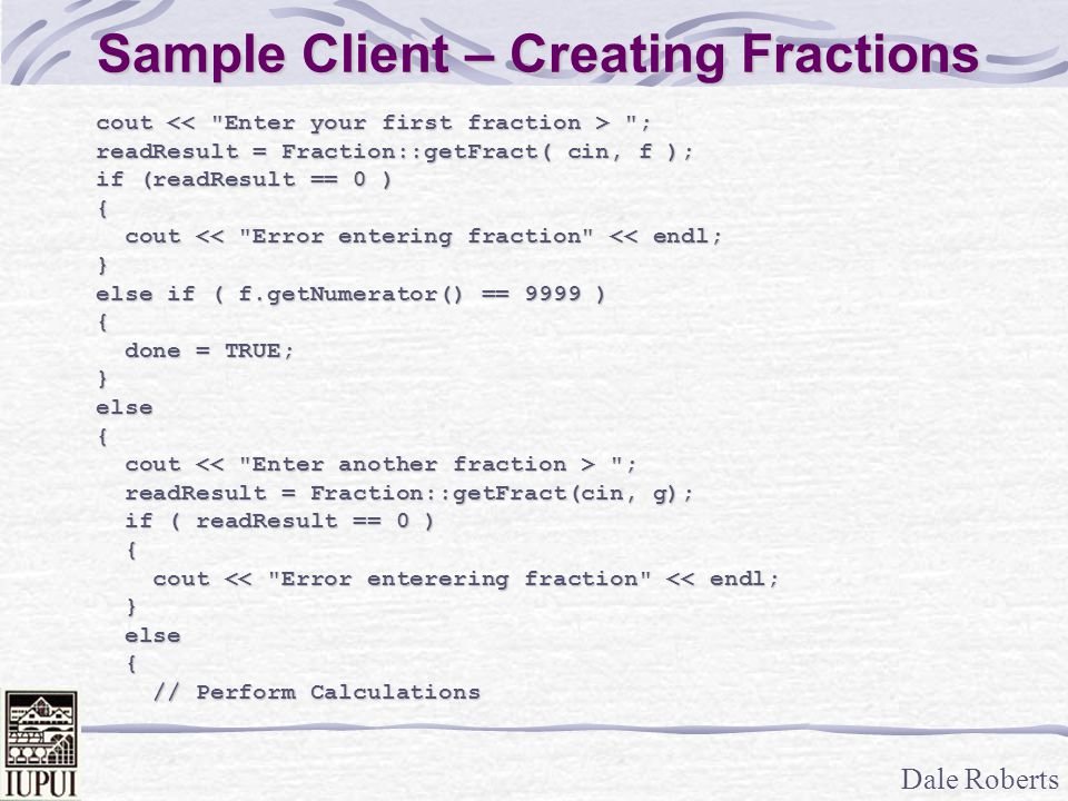 Sample Client – Creating Fractions