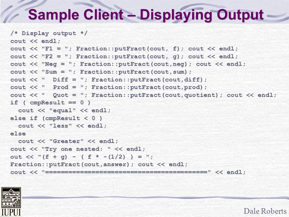 Sample Client – Displaying Output