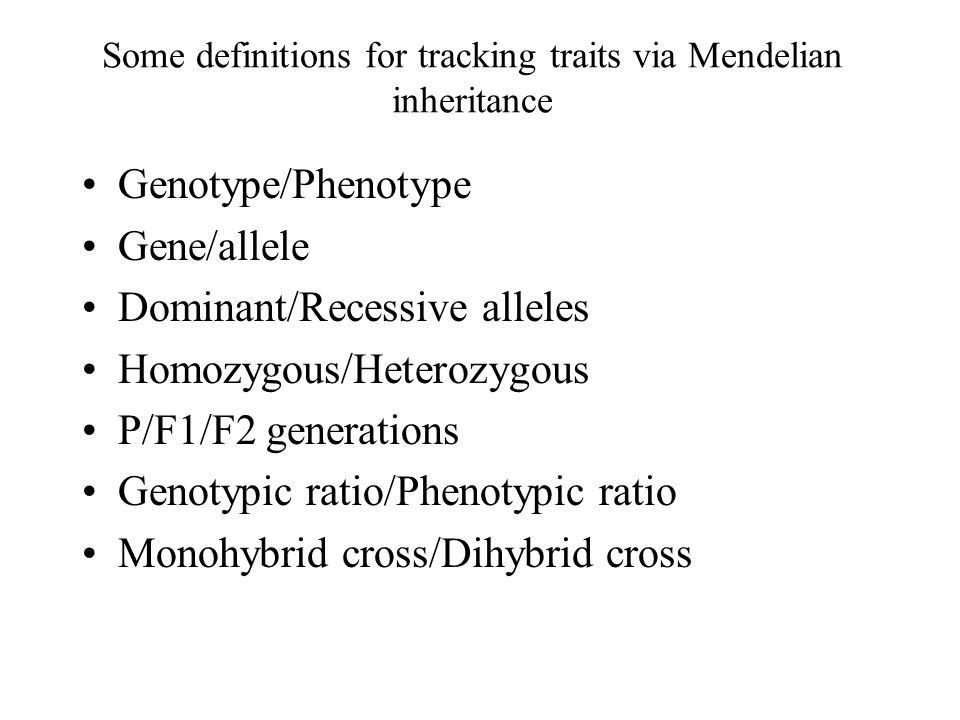 Some definitions for tracking traits via Mendelian inheritance