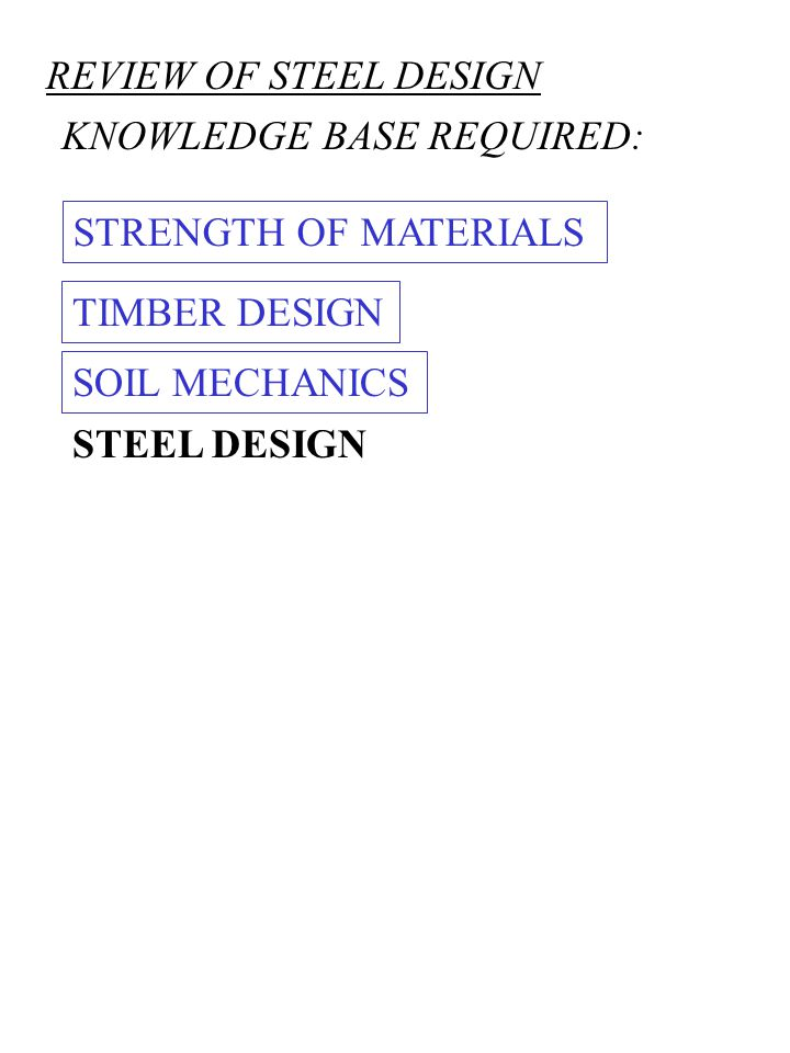REVIEW OF STEEL DESIGN KNOWLEDGE BASE REQUIRED: STRENGTH OF MATERIALS. TIMBER DESIGN. SOIL MECHANICS.