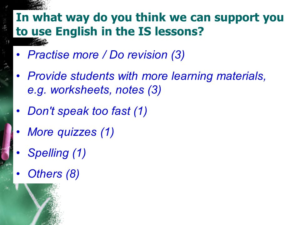 In what way do you think we can support you to use English in the IS lessons