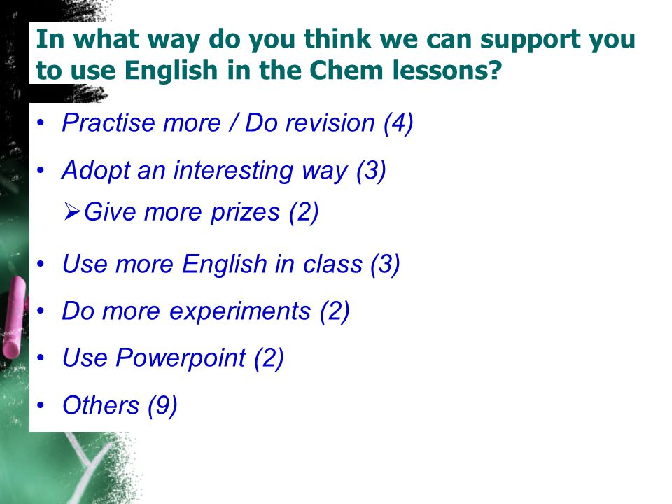 In what way do you think we can support you to use English in the Chem lessons