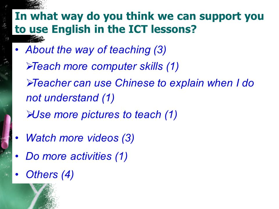 In what way do you think we can support you to use English in the ICT lessons