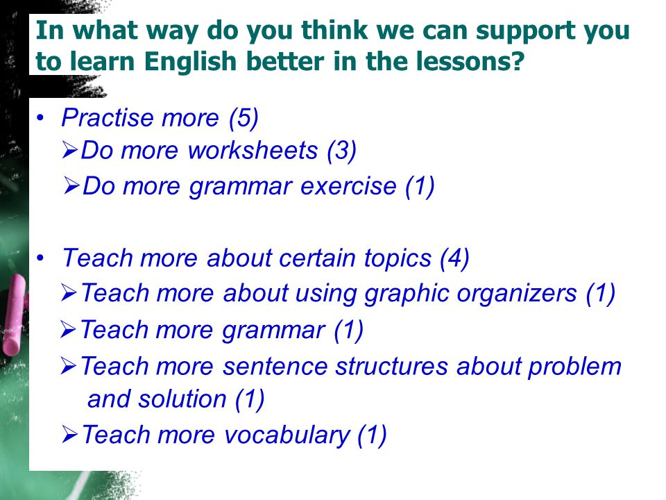 In what way do you think we can support you to learn English better in the lessons