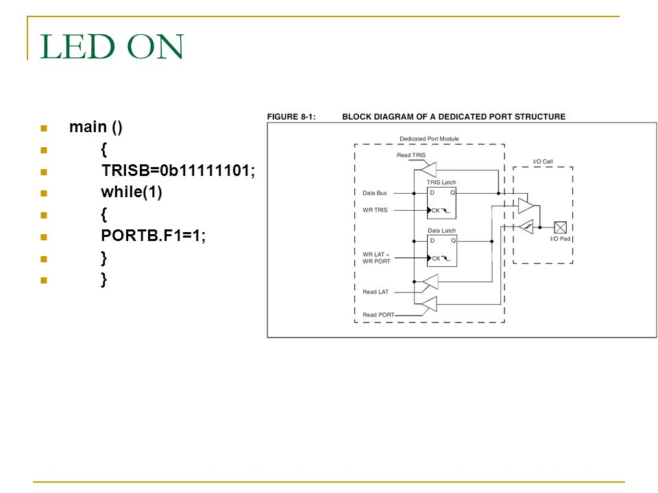 LED ON main () { TRISB=0b11111101; while(1) PORTB.F1=1; }
