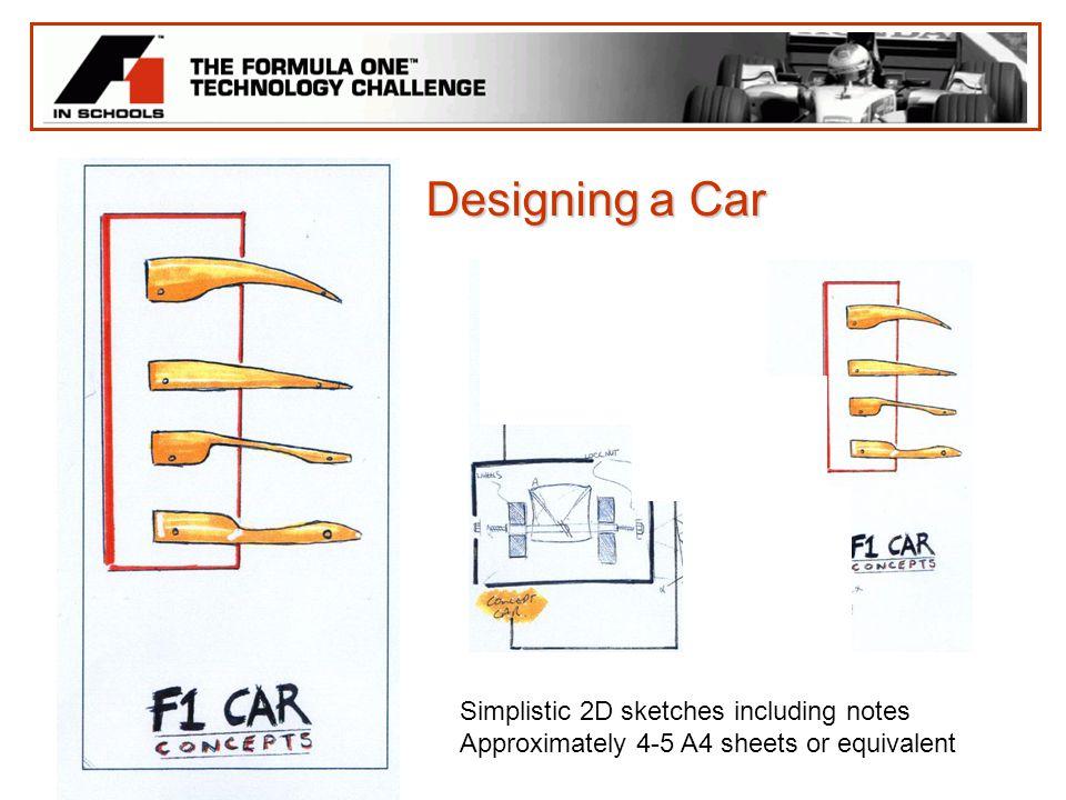 Designing a Car Simplistic 2D sketches including notes
