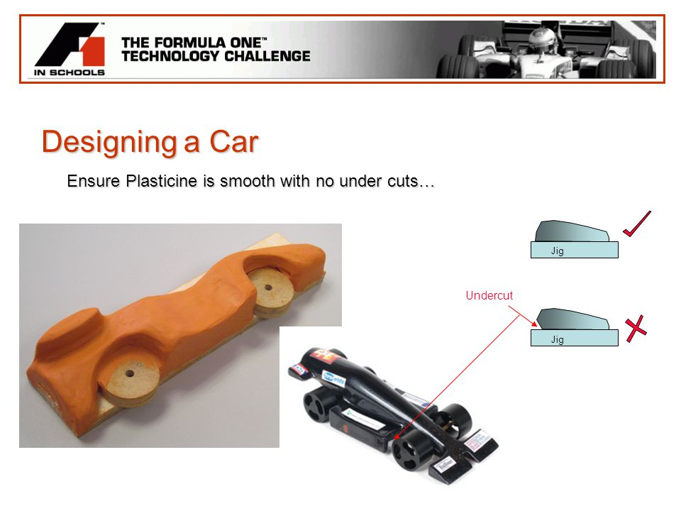 Designing a Car Ensure Plasticine is smooth with no under cuts…