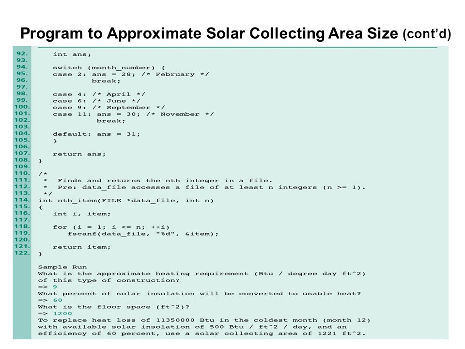 Program to Approximate Solar Collecting Area Size (cont'd)