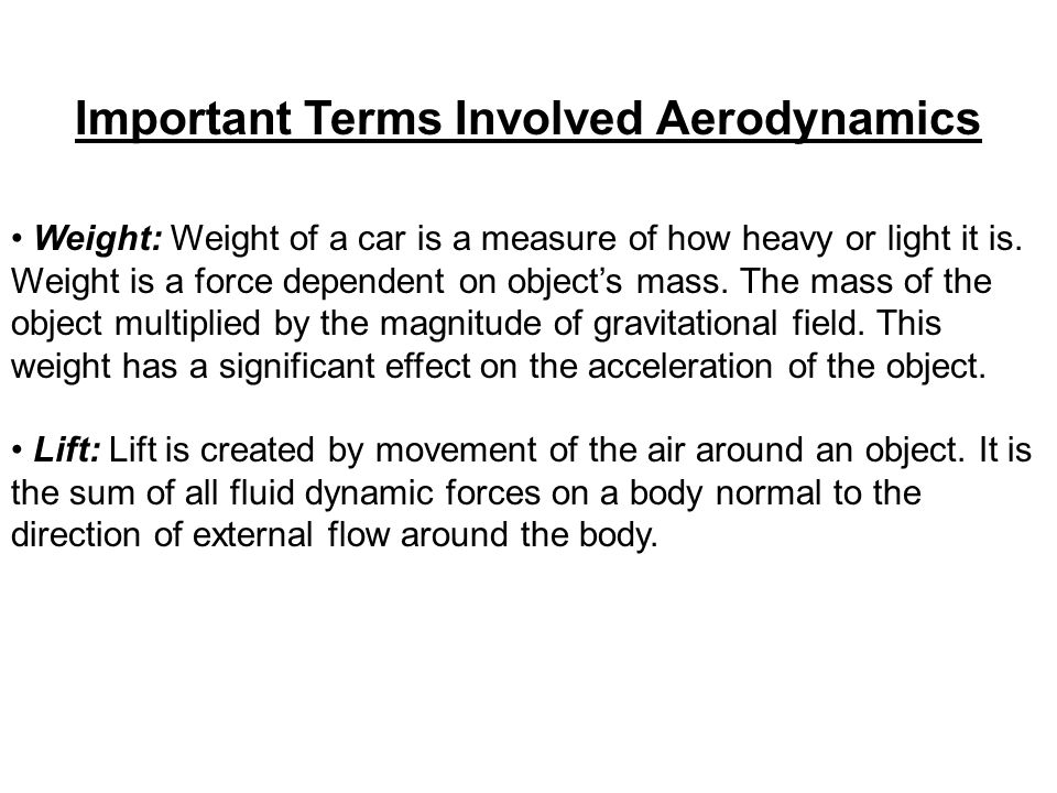 Important Terms Involved Aerodynamics