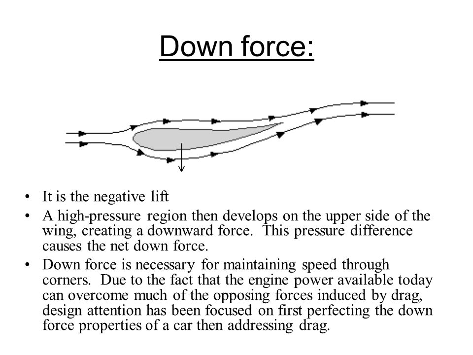 Down force: It is the negative lift