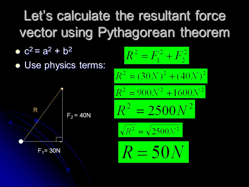 Let's calculate the resultant force vector using Pythagorean theorem