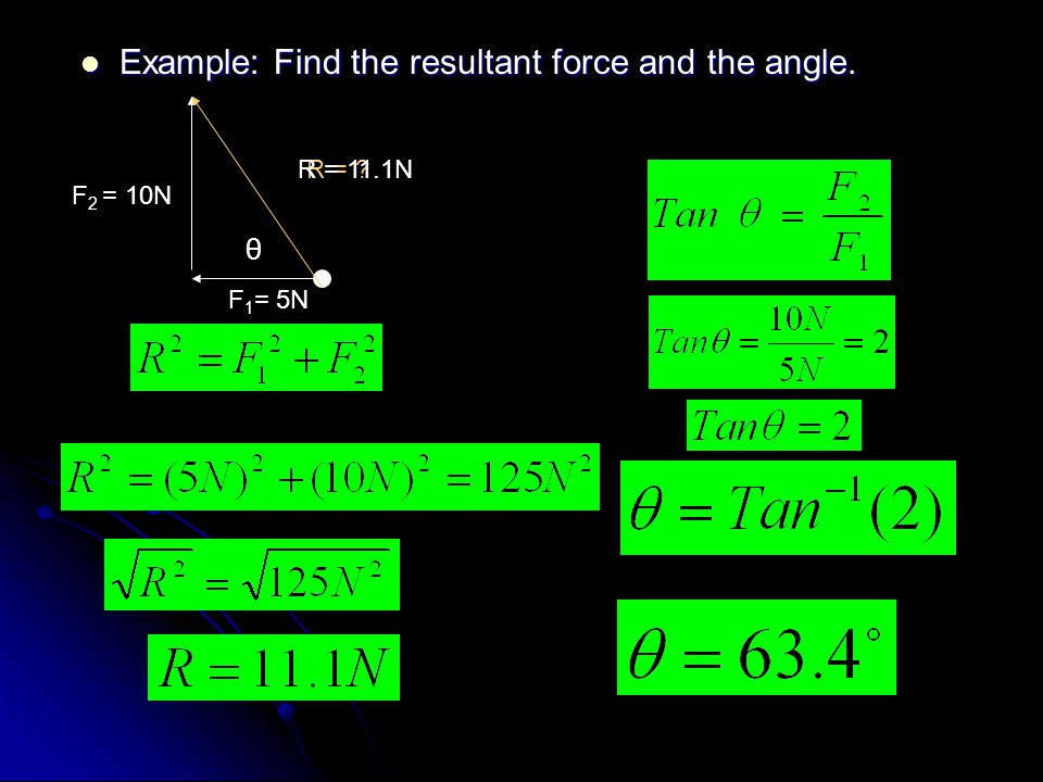 Example: Find the resultant force and the angle.