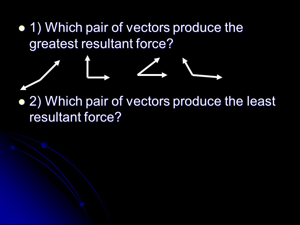 1) Which pair of vectors produce the greatest resultant force