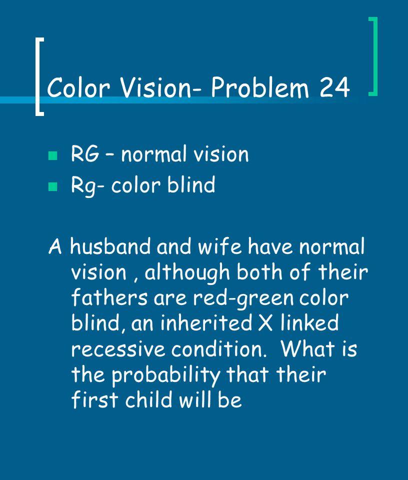 Color Vision- Problem 24 RG – normal vision Rg- color blind