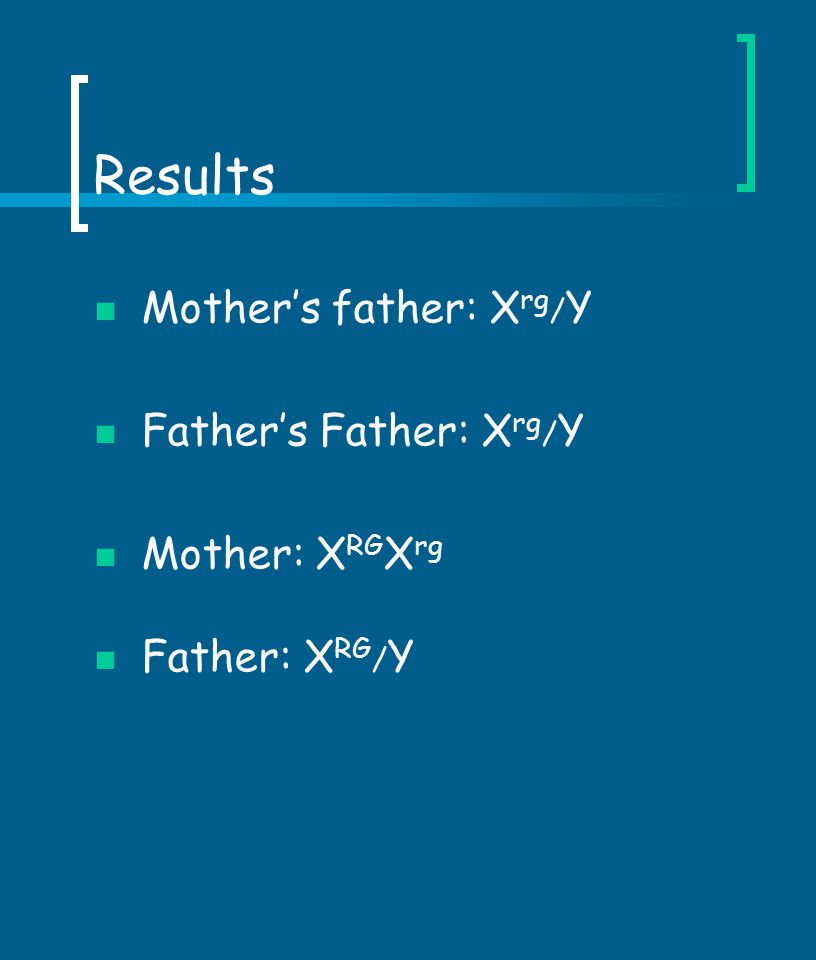 Results Mother's father: Xrg/Y Father's Father: Xrg/Y Mother: XRGXrg