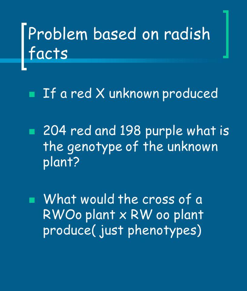 Problem based on radish facts