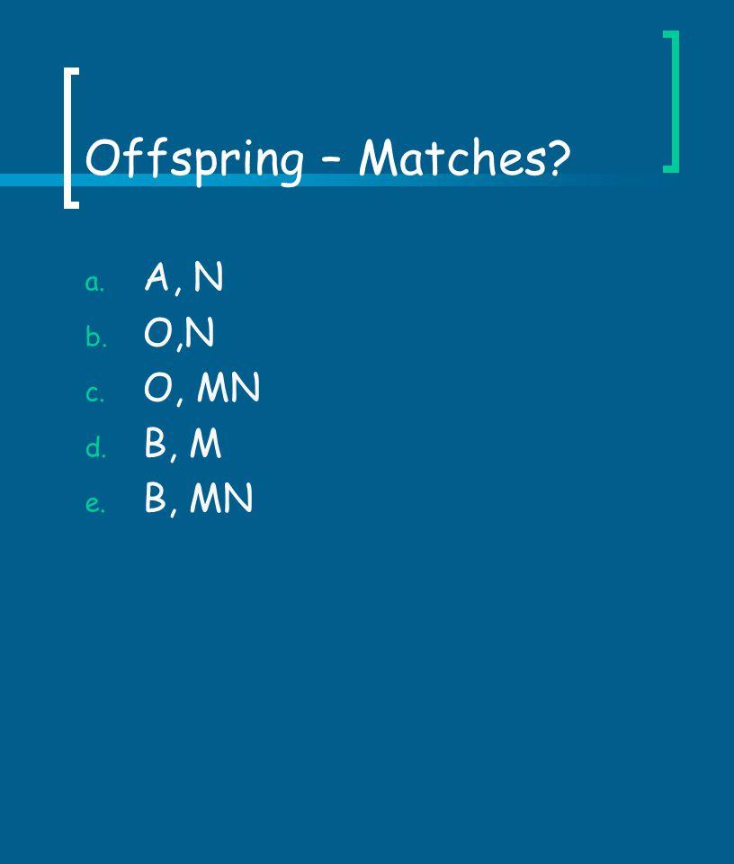 Offspring – Matches A, N O,N O, MN B, M B, MN