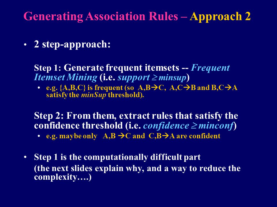 Generating Association Rules – Approach 2