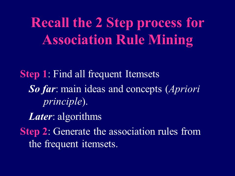 Recall the 2 Step process for Association Rule Mining