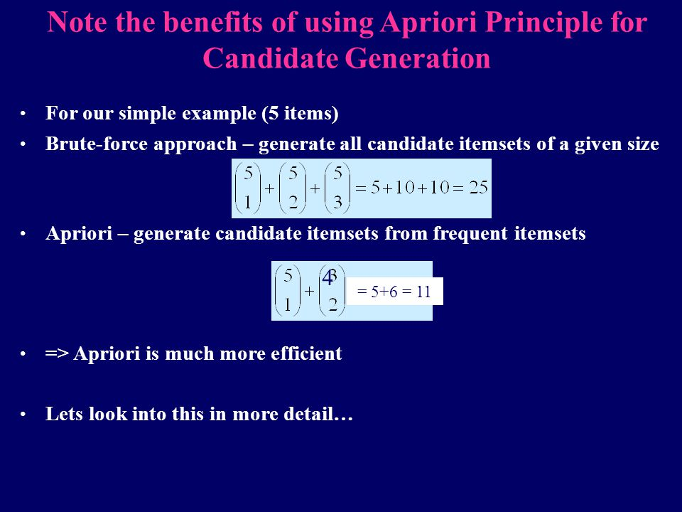 Note the benefits of using Apriori Principle for Candidate Generation