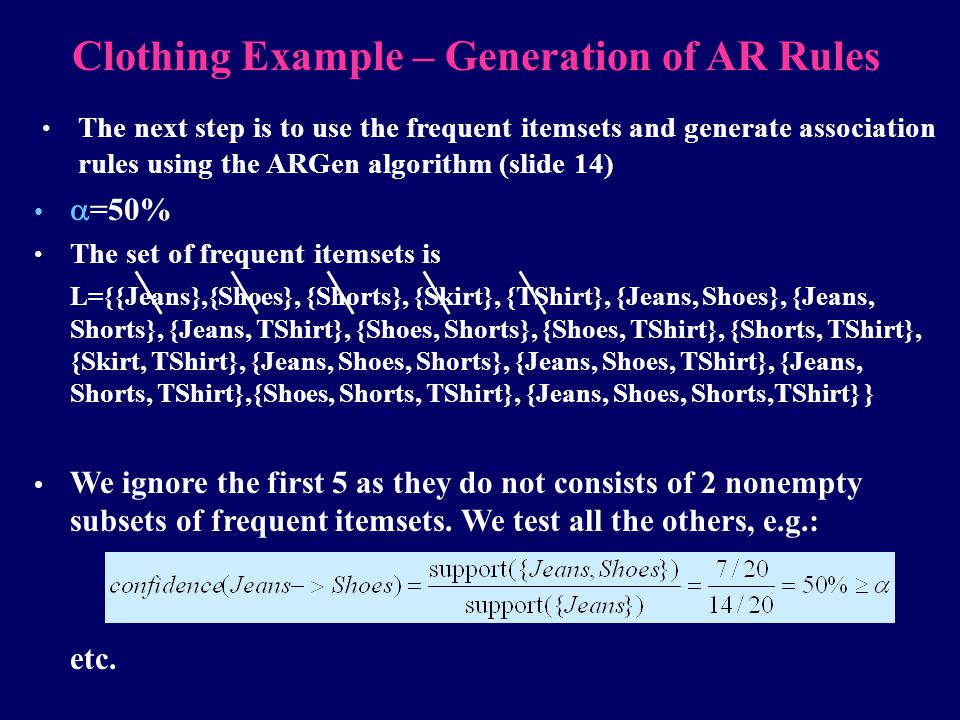 Clothing Example – Generation of AR Rules