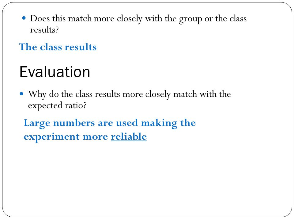 Evaluation The class results