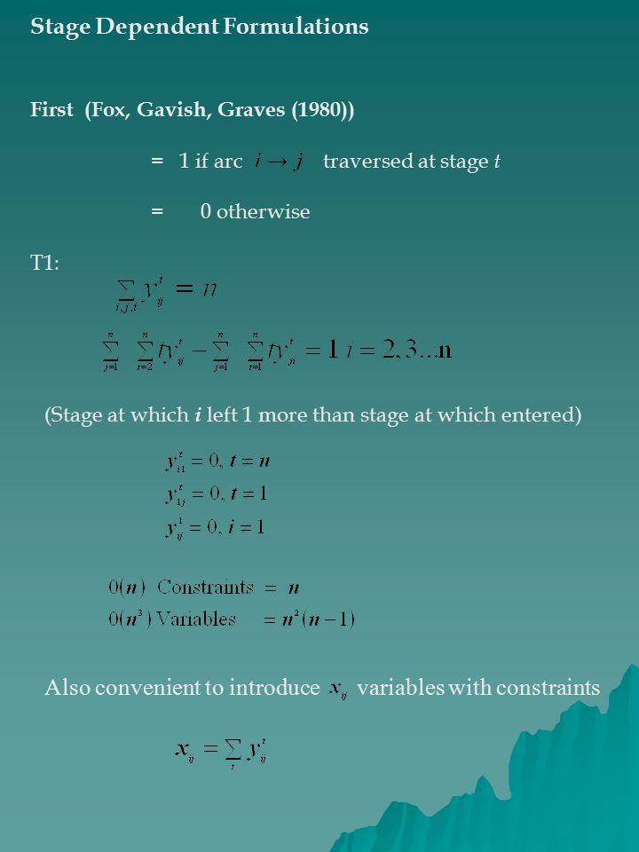Stage Dependent Formulations
