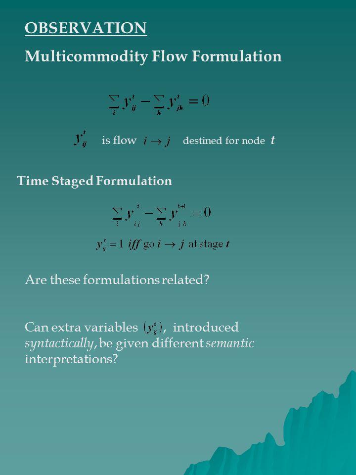 Multicommodity Flow Formulation