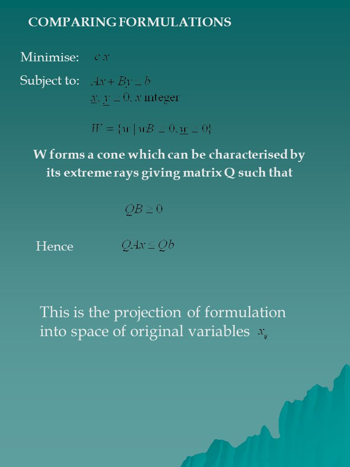 This is the projection of formulation into space of original variables