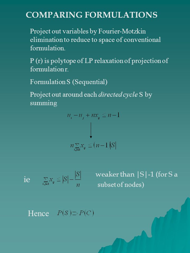 COMPARING FORMULATIONS