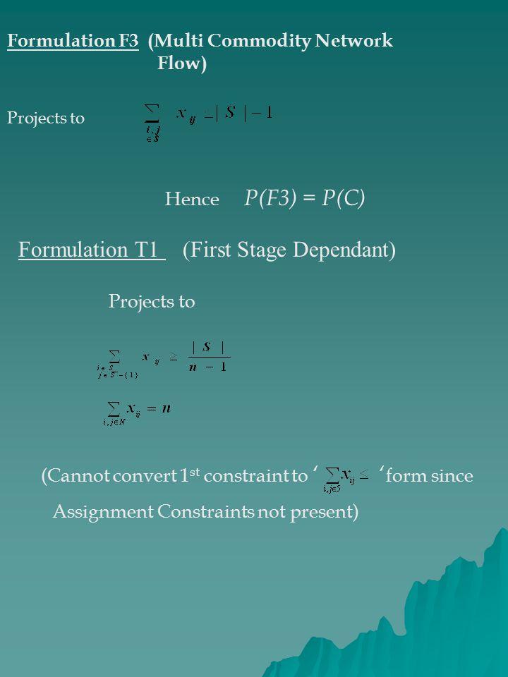 Formulation T1 (First Stage Dependant)