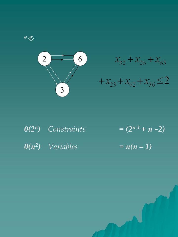 0(2n) Constraints = (2n-1 + n –2) 0(n2) Variables = n(n – 1)